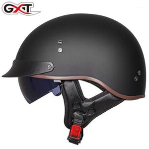GXT Vintage Motorcycle Casco Vintage Estate Mezzo casco con visiera interna Jet Retro Capacete Casque Moto Dot Approved1