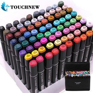 Touchnew 60/80/168 색 마커 펜 세트 애니메이션 스케치 마커 듀얼 헤드 드로잉 아트 브러시 펜 알코올 기반 201102