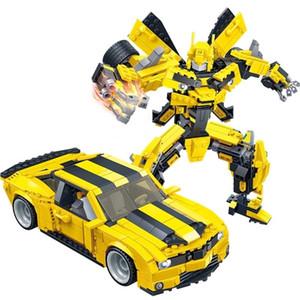 Gudi transformações Robot carro amarelo figura Bricks Cidade Building Blocks compatíveis com o Criador Brinquedos Educativos Para Crianças 1008