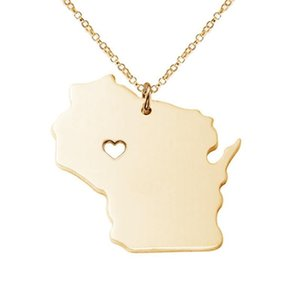 Wholesale Boutique Outline Wisconsin Map With Heart Necklace USA Map Statement Necklace I Heart Love Wisconsin Necklaces