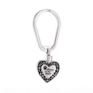 Always In My Heart Cremation Urn Pendant Pet Urn Memorial Ash Keepsake Holder Urns Key Chain Cremation Jewelry For Ashes Keyring Jewelry