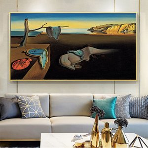 Canvas Painting Wall Posters and Prints Surrealism Memory clock Mural Wall Art Pictures For Living Room Decoration Dining Hotel Home Decor