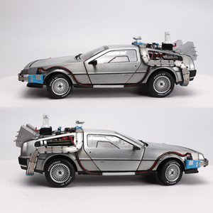 1/18 Waage Legierung Auto Diecast Modell Teil 3 Zeitmaschine Deloraner Fahrzeug Metall Spielzeug WELLY Zurück in die Zukunft f Kind Kinder Geschenke LJ200930
