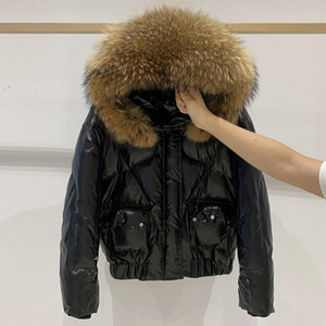 Janveny Реальный меховым капюшоном 2020 женщин вниз куртка Зимняя Водонепроницаемая Короткая утка вниз пальто Женщины Блестящий Puffer перо ParkaX1016