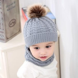 5 Colors INS Baby Kids Boys Girls Poms Beanies with Neckerchief Scraf 2Pieces Set Knitted Winter Children Caps Scraves for 0-3T