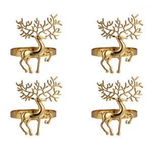 4pcs natale alci porta tovaglioli anelli tovaglioli in lega di Natale detentori durevoli