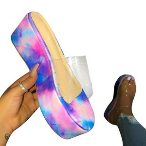 Waterproof Platform Sandals High Heel PVC Summer New Shoes Women Outdoor Beach Sandals Transparent Non-slip Durable Slippers Ladies