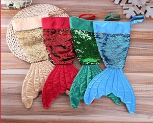 Christams Decorations Mermaid Christams Stocking Gift Wrap Bags Bling Bling Bead Flip Tail Socks Xmas Home Decor 2 Colors LLS629