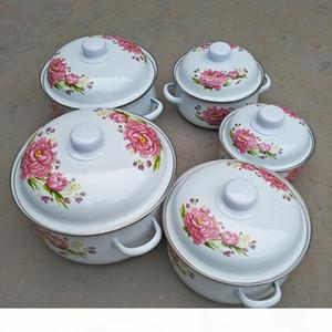 5pcs Stock pots cookware ceramic Cooking pot Cookware Porcelain Enamel Casseroles Enamel Stock Pots