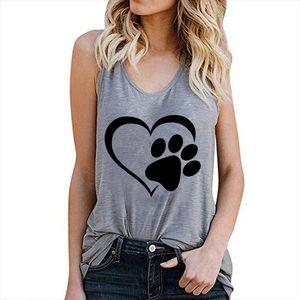 Women Vest Tank Tops CamisoleFashion Dog Paw Print Couple T Shirts Streetwear Harajuku Casual Sleeveless Large Size 2020 Summer