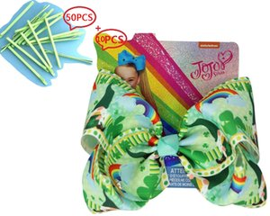 8inch Large Bows Painted Hairpin set St Patrick's Day Bowknot Ribbon Hair Bows With Clip Kids Hair Accessories 60PCS
