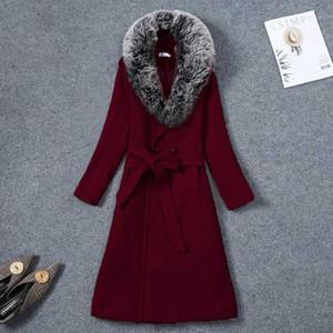 2020 Autumn Winter Warm Trench Coat Elegant Women Long jackets Femme fake fur collar Windbreaker Wool Coats women Plus Size 5XL1