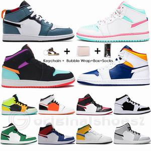 Com Box Proteja Nike Air Jordan Retro 1 High Travis Scotts Mid Tie Dye Torça Milão 1s Mens tênis de basquete 4 4s Bred Cactus Jack de néon 6 Sports Sneakers