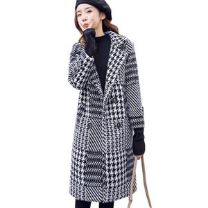 High Quality Woolen Coat Women 2020 Autumn Winter Jacket Outerwear Plaid Warm Medium Long Imitation Mink Coats Female Basic Coat