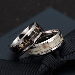 Top Quality 8MM Fashion 316L Titanium Steel Couple Rings Heart Finger Ring For Womens Men wedding birthday nails rings with red jewelry box
