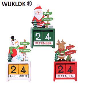 Santa Merry Wooden Calendar Painted Desktop Home Christmas Decoration Navidad 2021 New Year Gift Noel-9
