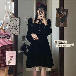 Черное готическое платье Женщины Флис Пашельки Кружева Сладкая Лолита Мини Платье Японский стиль Kawaii Элегантный Deigner Girl 2020 New1
