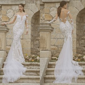 New Lace Mermaid Wedding Dresses Sexy Sheer Neck Long Sleeve Bridal Gowns See Through Sweep Train robes de mariée