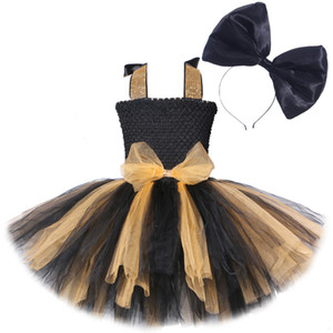Lol Surprise Dolls Bow Dress for Girls Kids New Year Costumes Princess Girl Tutu Dresses with Big Bowknot Headband Child Clothes W1227