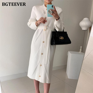 BGTEEVER Autumn Winter Fashion O-neck Single-breasted Belted Women Knitted Midi Dress Elegant Loose Female Sweater Vestidos 2020
