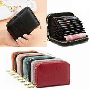 RFID Blocking Leather Wallet Card Holder Credit Cards Zip Pocket Case For Business Men Women Purse Clip Multiple Card Slots Package