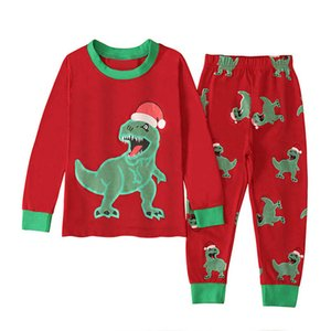 INS Christmas kids pajamas dinosaur kids sleepwear boys pajamas boys sleepwear long sleeve T shirt+ trousers 2pcs set kids underwear B2617