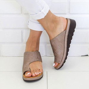 Women Leather Shoes Comfy Platform Flat Sole Lady Casual Soft Toe Foot Correction Sandal Orthopedic Bunion Corrector