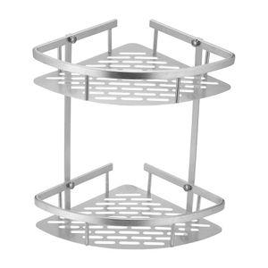 Nueva alta calidad de 2 niveles de esquina de la esquina de los estantes de los estantes del baño Champú de baño de la ducha de la cocina del almacenamiento del estante del estante del estante del almacenamiento del almacenamiento