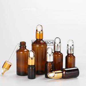 100pcs 5ml 10ml 15ml 20ml 30ml Amber Glass Dropper Bottle, Essential Oil Bottle With Tamper Evident F2359good qualtitygood sho