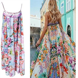 Summer New Style Fashion Womens Bohemian Floral Maxi Long Skirt Summer Beach Evening Party Sundress