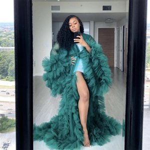 Fashion Ruffles Tulle Kimono Women Dress Robe Extra Puffy Prom Party Dresses Puffy Sleeves African Cape Cloak Pregnant Gowns LJ200821