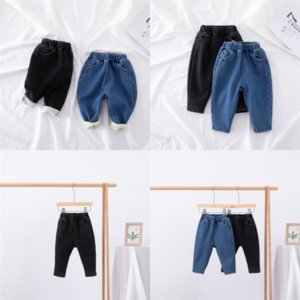 DL738 Toddler Thicken Summer Ripped Clothing Red Stripes Tops Girls Jeans Broken Add velvet Hole JeansGirl Clothes summer jeans child Keep