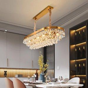 Altın Dikdörtgen Mutfak Oturma Odası için Modern Avize Yemek Odası Su Damlacık Kristal Lamba Villa Salonu Mağaza Işık Armatürleri