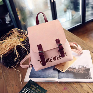 Fashion Women Backpack High Quality School Bags For Teenager Girls Large School Backpack Vintage Solid Shoulder Bags 201014