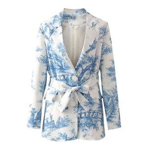 RR Casual Slim Printed Blazers Women Fashion Single Breasted Jackets Women Elegant Tie Belt Waist Suits Female Ladies GAA