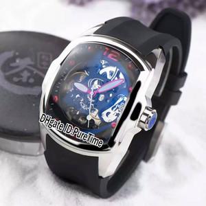 Neuer 45mm Admirals Cup Blase Gebogene Glasstahlgehäuse Schwarz Skeleton Dial CO0082 Automatik Herren Uhr-Gummisportuhr Günstige CORM38a1