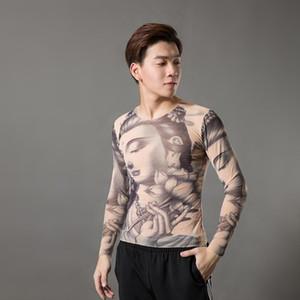 2020 Fashion Men's Fake Tattoo T-shirts Long Sleeve Elastic Modal Thin All Over Print O-Neck Tattoo Shirts Halloween Clothing