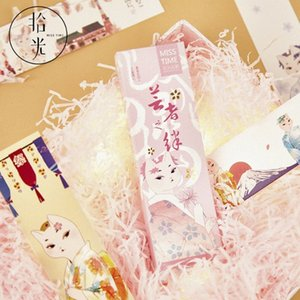 30pcs Lindo estilo japonés Miss Cat Paper Marcadores Kawaii Book Holder Message Tarjeta Suministros Escolares Niños Regalos A2ML #