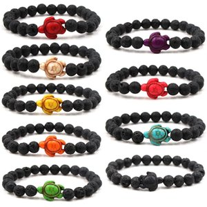 Sea Turtle Beads Bracelets For Women Men Classic Lava Stone Essential Oil Diffuser Elastic Friendship Bracelet Beach Jewelry