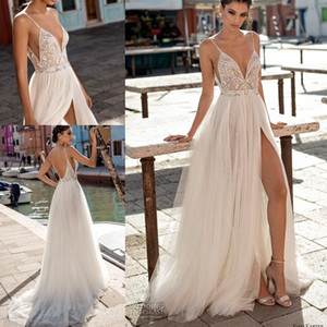Gali Karten 2021 Beach Wedding Dresses Side Split Spaghetti Sexy Illusion Boho A-Line Wedding Dresses Pearls Backless Bohemian Bridal Gowns