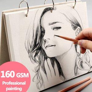 나선형 스케치북 슈퍼 두꺼운 노트북 레트로 리넨 하드 커버, 120 페이지 (160) GSM, 전문 회화, 대체 가능 리필