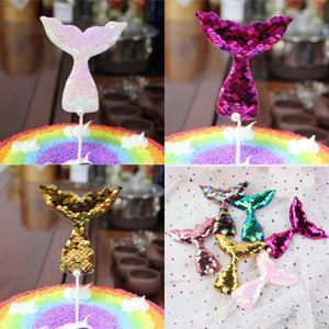 Mermaids Tails Flag Insertion Pearl Mermaid Tail Sequin Cake Toppers Bake Cakes Decoration Card Insertions New Arrival 0 85sn L1
