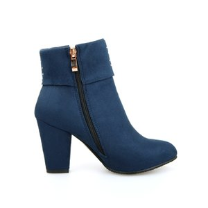 Shoes Ankle Round Toe High Heel Big Size Women for Autumn Spring Red Black Blue Boots 201022