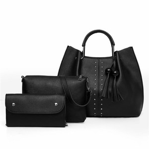 Classic Solid Soft PU Leather Composite Bag 4pcs Set Women OfficeLady Luxury Black Shoulder Bag Elegant Card Party Crossbody
