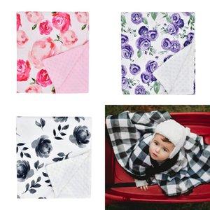 Baby Minky cobertores Floral Carrinho de Carrinho de Manta Cobertor Recém-nascido Super Soft Dupla Camada Pontilhada Swaddling Photo Wraps Presente de Chuveiro de Quilt 258 K2