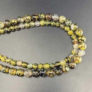 1 strang 6 8 10 mm natürlichen stein gelb drache vene agat perlen runde lose spacer perlen für schmuck findings h jllech