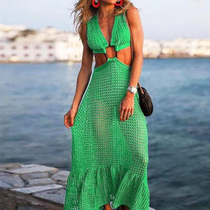 Summer Green Mesh Dress Womens Fashion Sexy Big Swing Sexy Solid Dress Chest Metal Round Ring Party Long For Female