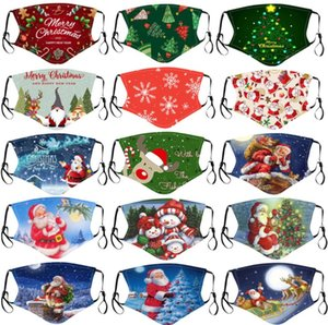 Merry Christmas face mask kids adult Santa Claus Gift Snowflake Child Print Cartoon  face mask Breathable Dustproof PM2.5 filters