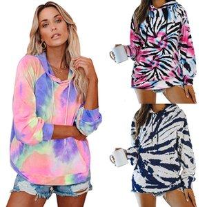 2020wis Women's Casual Tie Dyeing Loose Long Sleeve Hooded Top Sweatshirt Hoodies Set Tracksuit Sport Women Shirts Free Shipping