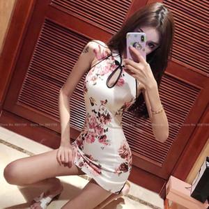 7Style mulheres sem mangas slim qipao estilo chinês elegante retro cheongsam partido clube sexy bodycon mini vestido vintage vestidos
